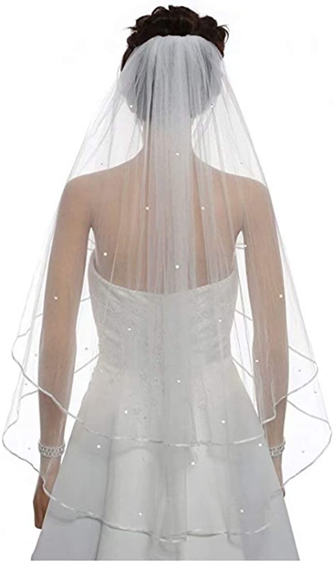 Margot Dress Women's Short 2 Tier Satin Edge Wedding Pearl Tulle Veil Tulle Pearl Bridal Veil with Comb