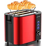 2 Slice Toaster, LOFTer Stainless Steel Bread Toasters Best Rated Prime with Warming Rack, Extra Wide Slots Small Toaster, 6 Bread Shade Settings, Defrost/Reheat/Cancel Function, Removable Crumb Tray, 800W, Red