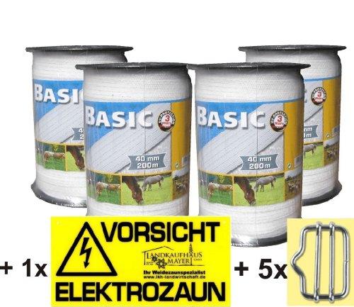 Landkaufhaus Mayer 4X Weidezaunband Weiß 40mm Rolle 200m 8x0,16 Niroleiter + 5 Bandverbinder + Warnschild