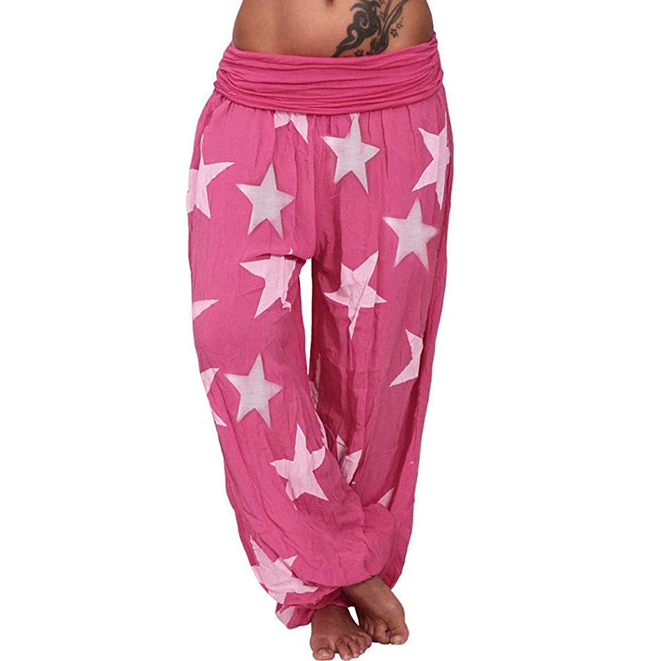 NUWFOR Women's Long Loose Pant Baggy Harem Sport Trousers Star Print Beach Pants (Red,S US Waist:27.2