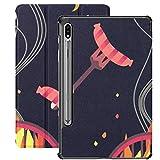 Galaxy Tablet S7 Plus Custodia da 12,4 pollici 2020 con supporto per penna S, barbecue salsicce alla griglia Custodia protettiva per folio piatta disegnata a mano sottile per Samsung