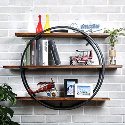 WLH- Woonkamer aan de muur Planken Round Shelf Creative Bookshelf Muur Bar Muur decoratieve smeedijzeren (Color : C, Size : Diameter: 90cm)