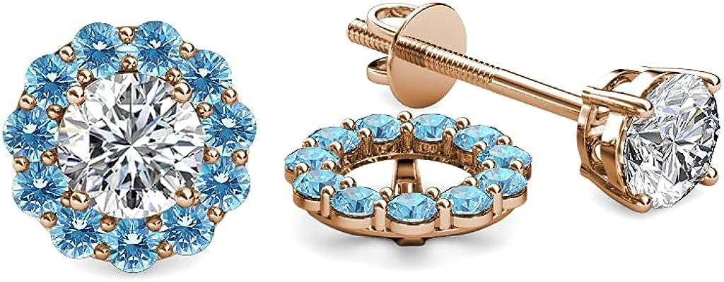 TriJewels Blue Topaz Halo Jacket for Stud Earrings 0.63 ct tw in 14K Rose Gold