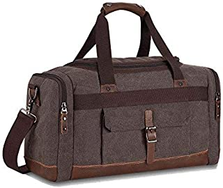 Travel Duffel Bag Canvas Weekender Overnight Carry-on Luggage with Genuine Leather Trim for Women Men (Big Size Coffee)