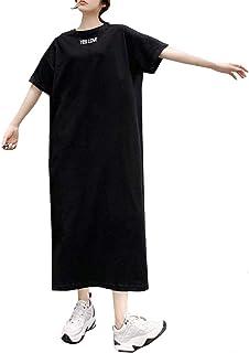 [ジョプリンアンドコー] ゆったり シンプル 半袖 ロング ワンピース tシャツ 春 夏 レディース