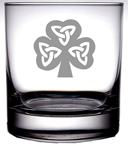 Irish Celtic Shamrock Whiskey Rocks | Laser Etch Embedded Design | 11 Ounce