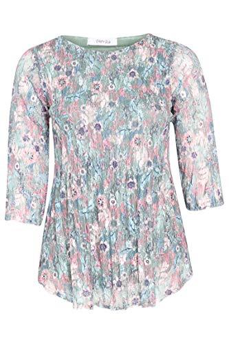 PAPRIKA Damen große Größen Plissierte Spitze Tunika mit Blumenaufdruck Rundhals 3/4 Ärmel