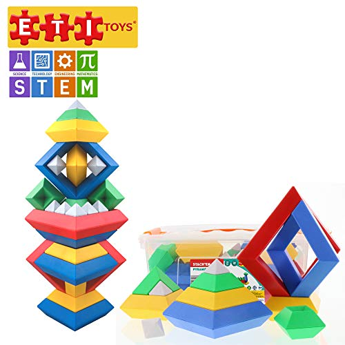 ETI Toys, STEM Learning, 30 Piece Stackem Pyramid. Build Tree, Owl, Lighthouse, Endless Designs. 100 Percent Safe, Fun, Creative Skills Development. Gift, Toy for 3, 4, 5 Year Old Boys and Girls