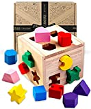 Jaques of London – Shape Sorting Cube | Shape Sorter | Perfect Wooden Toys for 1 2 3 Year Olds | Montessori Toddler - Toys Since 1795