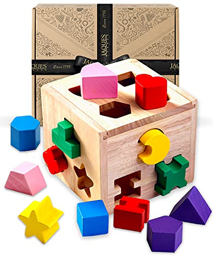 Jaques of London | Cubo de clasificación de formas | Clasificador de formas | Juguetes de madera perfectos para niños de 1 2 y 3 años | Montessori Juguetes para niños pequeños | Desde 1795