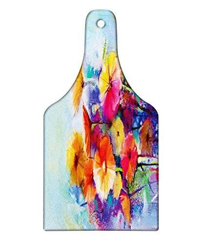 Lunarable Floral Cutting Board, Abstract Flower Bouquet in Soft Watercolors Daisies and Gerberas Spring Seasonal, Tempered Glass Serving Board, Wine Bottle Shape, Medium Size, Blue Orange