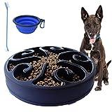 Mascotas Slow Feeder Dog Bowls for Large Dogs Fun Feeder Dog Food Bowl Interactive Bloat Stop Slow Feeder Dog Dish Anti-Gulping No Chocking Puzzle Bowl Maze (Black)