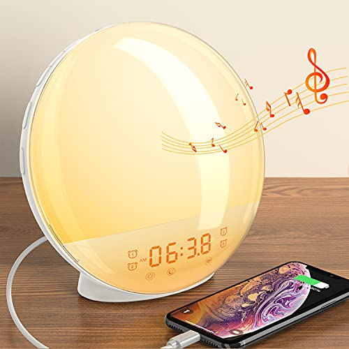 Dekala Sunrise Alarm Clock Wake up Light Alarm Clock Sunrise Lamp Natural Light Alarm Clocks for Bedroom Sunlight Alarm Clock Kids Smart Digital Clock Radio Gradual Light Color Changing Dawn Simulator