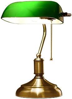 NBZH Lámpara de Mesa, Escritorio de la Vendimia de Lectura lámpara de Banqueros de la lámpara con conmutador de extracción Verde Pantalla de Cristal lámpara de cabecera E27 Sala de Estar Oficina Sala