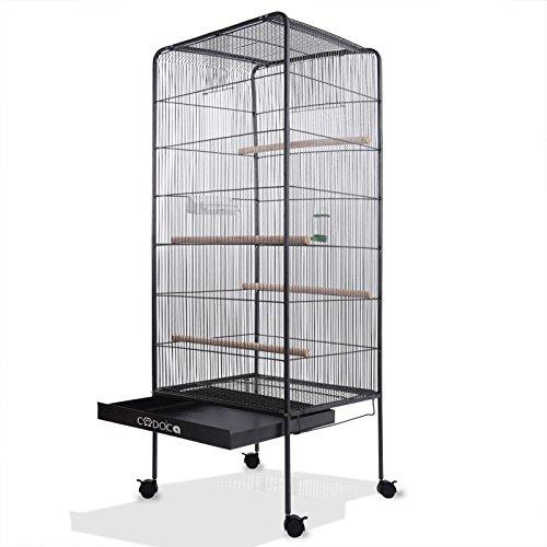 Deuba Jaula de pájaros Grande XL 13,5 kg con Ruedas giratorias 146 cm casa para pájaros con Accesorios Pajarera