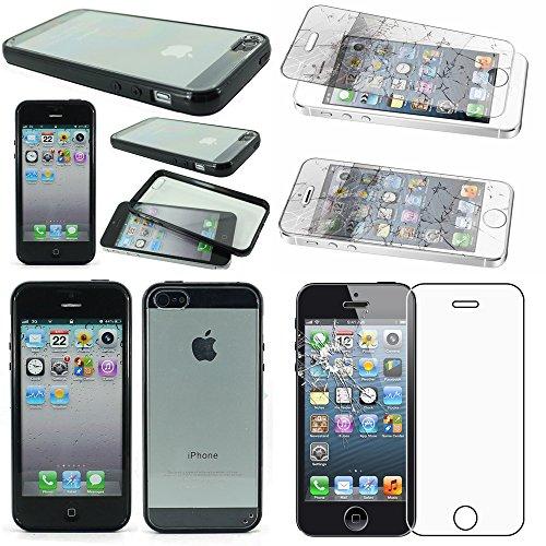 ebestStar - Funda Compatible con iPhone SE 5S 5 Carcasa Silicona Gel, Protección Hybrid Crystal Clear TPU Bumper, Negro + Cristal Templado Protector Pantalla [Aparato: 123.8 x 58.6 x 7.6mm, 4.0'']