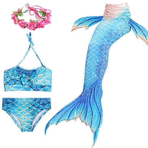 Chicas Nadando Cola de Sirena Trajes de bao 4 Piezas Nadar Cola de pez Disfraz Bikini por 4-12 aos,Aspicture,110cm