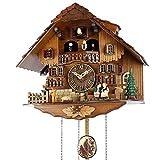 RSTJ-Sjef Reloj De Cuco De Cuarzo, Reloj De Pared De Chalet En La Ladera con Muñeca Bailarina Y Rueda Hidráulica Giratoria, Decoración De Pared para Dormitorio Y Sala De Estar