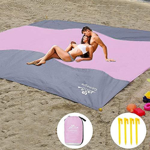 PAIPU Picknickdecke Wasserdicht 200x200cm XXL Sandfreie Stranddecke, Fleece wärmeisoliert Campingdecke mit Tragegriff, Groß Faltbar Picknick-Matte für Picknick, Strand, Outdoor (Weiß)