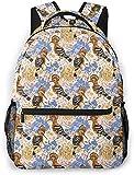 carino cartone animato formica mangiatore e stelle basic travel laptop zaino carino scuola bag-colorato uccelli e fiori