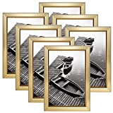 Giverny 4x6 Picture Frames Set of 7, Gold Photo Frames for Wall or Tabletop Display, Simple Design Glossy Finish Frame Perfect for Home Decoration, Office, Hotel and Various Ceremonies Praties