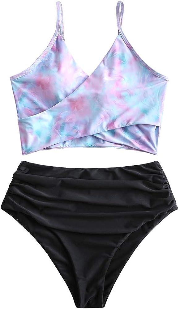 ZAFUL Tie Dye Knot Swimwear Ruched High Waisted Tankini Tank Top Swimsuit Rainbow Bikini