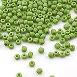 3300 unidades de cuentas de cristal opaco, 3 mm, mate, 8/0, perlas de pony, color verde claro
