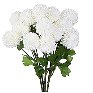 XIZHI 5 Flowers 3 Heads Artificial Hydrangea Flowers Fake Silk Dandelion Flowers, Artificial Onion Flower Ball, Artificial Chrysanthemum Ball DIY, Home Decoration Wedding Bouquet (White)
