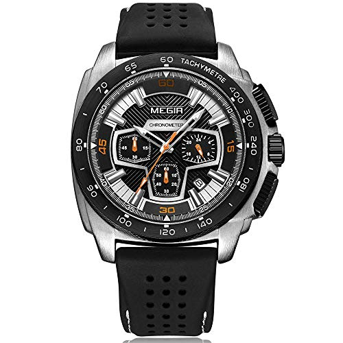 Megir Groß Armbanduhr Herren Uhren Luxus Silber Militär Schwarz Silikonarmband mit Chronograph Kalender Wasserdicht XL