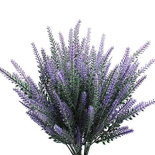JaneYi 6 Stück Künstliche Lavendel Blume Pflanze Lila Plastik Lavendel Blumen Gefälschter Lavendel Brautstrauß Blumengesteck für DIY Innen Draussen Zuhause Vase Terrasse Garten Hochzeit Party Dekor