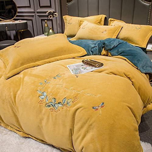 Edredón de Forro Polar para Cama Individual,Funda de almohada de ropa de cama de cuatro piezas de terciopelo de leche gruesa de invierno funda de edredón extra grande de Navidad juego de cama de apar