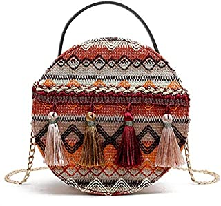 YXHM AU Small Round Bag Female Wild National Style Retro Fringed Straw Braided Bag Chain Bag (Color : Yellow)