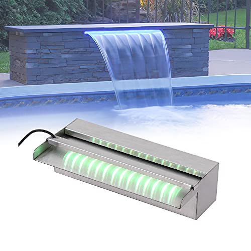 YUDA 12' Stainless Steel Waterfall Pool Fountain with SMD LED 7 Color Changing and Remote, Lighted Spillway for Sheer Descent Garden Outdoor