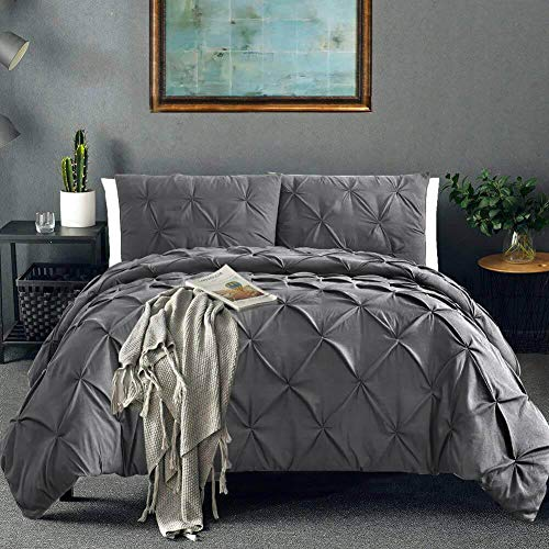 Vailge 3 Piece Pinch Pleated Duvet Cover with Zipper...