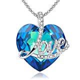 angelady blue love heart pendant necklace, crystals from swarovski, engraved love girlfriend wife