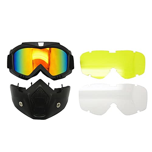 bc17ad340e9 EnzoDate Motorcycle Goggles Mask Detachable