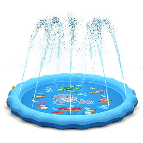 "QPAU Sprinkler for Kids, Sprinkle and Splash Play Mat 68"",Outside Toy Water Toys for Kids Outdoor, Outdoor Toys for Toddlers Age 3-5 (Blue)"