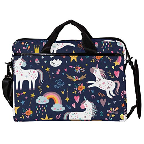 TIZORAX Laptop Messenger schoudertas Unicorn and Cloud Design Computer Sleeve Notebook draagtas 15-15,4 inch handtas