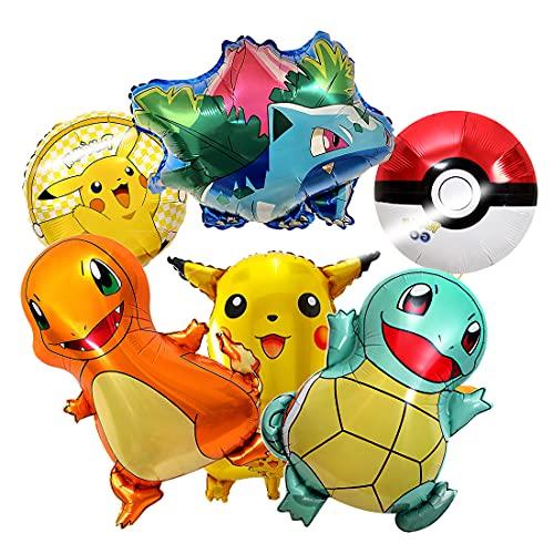 Pokemon Globo, HONGECB Helium Balloons, Pokemon Pikachu globos de papel de aluminio, Globos de fiesta de Pokemon para niños, globos de decoración de fiesta de cumpleaños, 6 Piezas