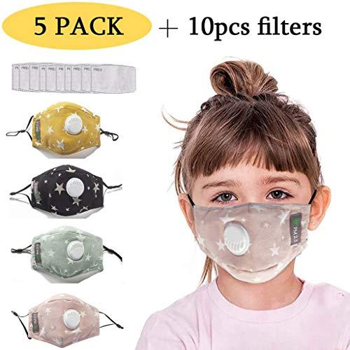 5xMasks-Mascarillas niño 10xFiltros unisexo higiénica multifuncional reutilizables y lavables - Protección contra polvo Microfibra Protección facial de ciclismo Carbón Activado Anticontaminación