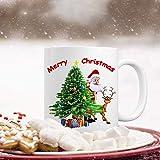 Christmas Coffee Mug with Merry Christmas Santa Christmas Tree Reindeer Christmas Theme White Ceramic Coffee Cup for Christmas Gifts 11 Ounce
