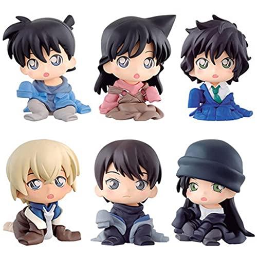 LUPOVIN 6 Pz/Set Anime Detective Conan Figure Conan Bourbon Furuya REI Sherry Haibara Heiji Gin Q Versione Vinile Modello Giocattoli Regalo dei Bambini 4-5 Cm