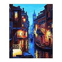DENGDENG 40x50cm フレームレス (ヴェネツィアの夜) DIY デジタル絵画 リビングルームの風景 ストレスリリーバー 大人 着色 マニュアル 手描き 着色油絵