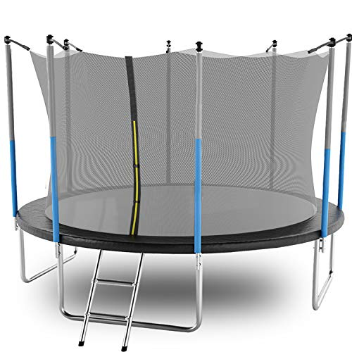 AOTOB 14 FT Trampoline for Kids with Safety Enclosure Net,Ladder Trampoline for Kids,Spring Pad, Ladder, Combo Bounce Jump Trampoline, Black Outdoor Trampoline for Kids, Adults