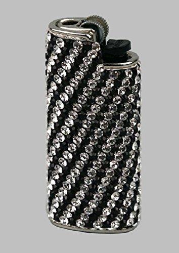 BIC Feuerzeughülle Mini Swarovski Elements schwarz/weiß mit Mini Feuerzeug