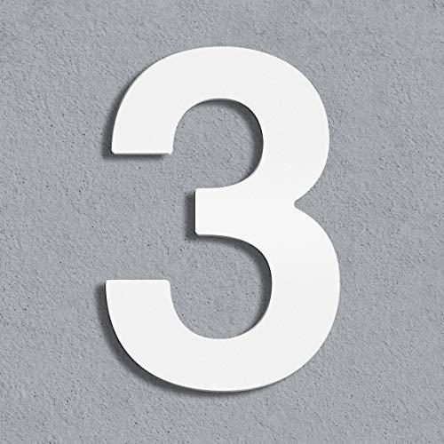 Thorwa® Design Edelstahl Hausnummer, weiß weiss beschichtet, inkl. Montagematerial/H: 160 mm/RAL 9003 / Witterungsfest (3)