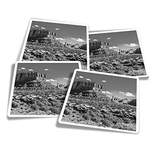 Vinyl Stickers (Set of 4) 10cm - BW - Rock Canyon Sierra Nevada Spain Fun Decals for Laptops,Tablets,Luggage,Scrap Booking,Fridges #36942