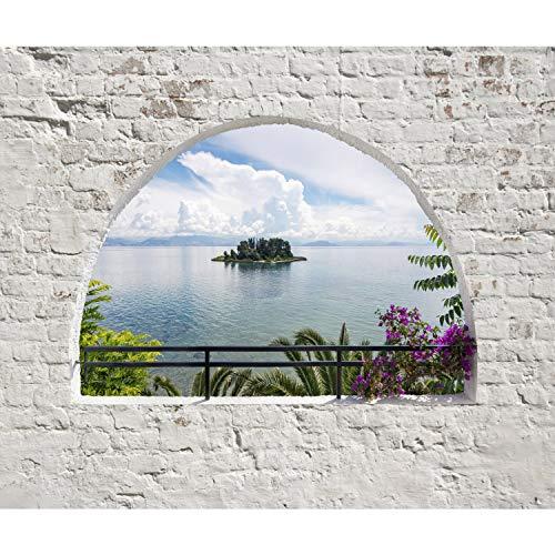 decomonkey   Papier peint intissé Naturee Paysage 200x140 cm Trompe l oeil   Déco Mural Tableaux Muraux Photo Mur de Pierre Fenetre Mer Île