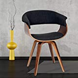 Armen Living Summer Chair in Charcoal Fabric and Walnut Wood Finish, 31' x 25' x 22'
