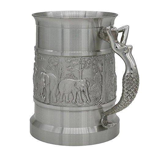 Oosterse tinnen - Tinnen bier mok - Pure Tin 97% loodvrije tinnen BJ09L hand gesneden mooie reliëf handgemaakt in Thailand